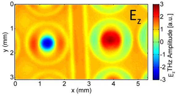 Fig. 3: Measurement of the z-component of the Terahertz near-field distribution shortly after optical excitation. To watch a movie showing the full time-domain excitation process click here.